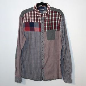 Desigual mix plaid pattern buttons down shirt